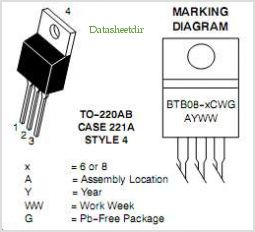 BTB08-600CW3G pinout,Pin out