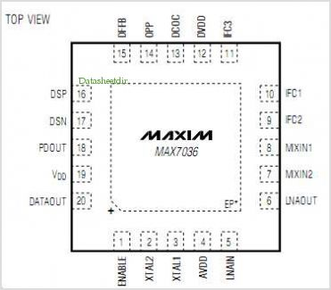MAX7036 pinout,Pin out