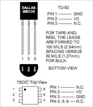 DS28EC20 pinout,Pin out