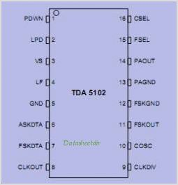 TDA5102 pinout,Pin out