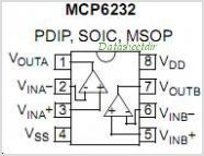 MCP6232 pinout,Pin out