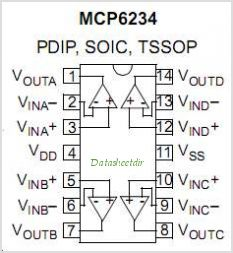 MCP6234T-E-ST pinout,Pin out