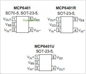 MCP6401 pinout,Pin out