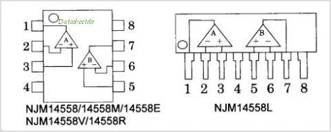 NJM14558R pinout,Pin out