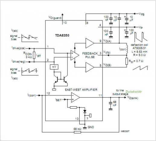 Tda8350q Dc Coupled Vertical Deflection And East West Output Circuit.