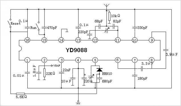 YD9088 FM RECEIVER CIRCUIT FOR BATTERY SUPPLY - schematic.