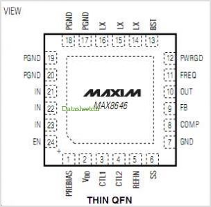 MAX8646 pinout,Pin out