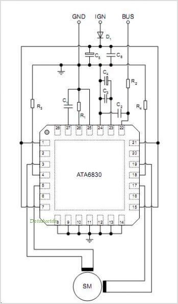 Ata6830 pkhw datasheet pinout application circuits ata6830 ata6830 pkhw circuits sciox Images