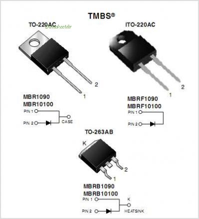 MBR10100 pinout,Pin out