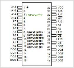 STC62WV5128 pinout,Pin out
