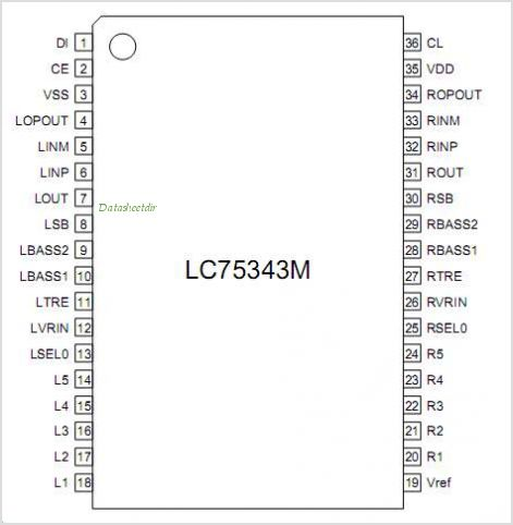 LC75343M pinout,Pin out