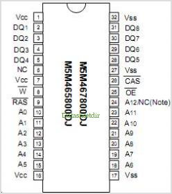M5M465160DTP-5 pinout,Pin out