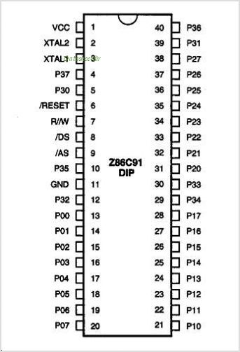 Z86C91 pinout,Pin out