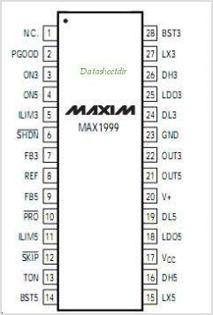 MAX1999 pinout,Pin out