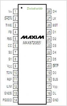 MAX8720 pinout,Pin out
