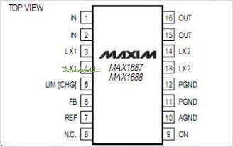 MAX1687 pinout,Pin out