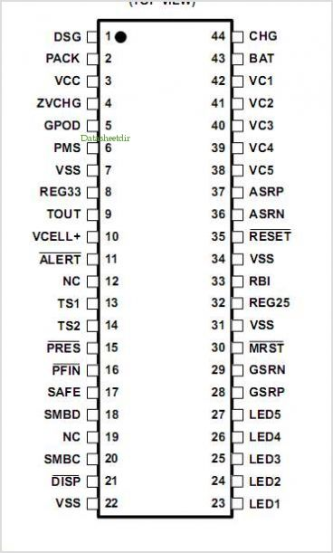 BQ20Z65DBT-R1 pinout,Pin out
