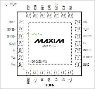MAX16818 pinout,Pin out