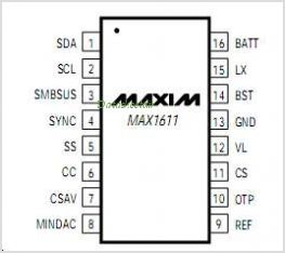 MAX1611 pinout,Pin out