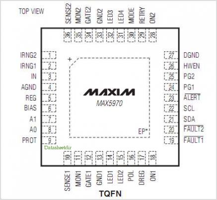 MAX5970 pinout,Pin out