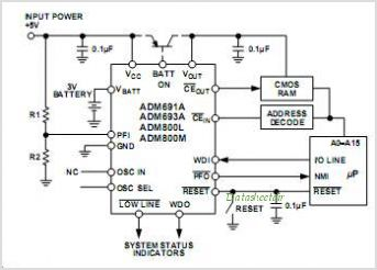ADM805 datasheet, Pinout ,application circuits µP Supervisor