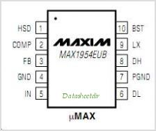 MAX1954 pinout,Pin out