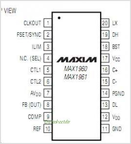 MAX1960EEPT pinout,Pin out