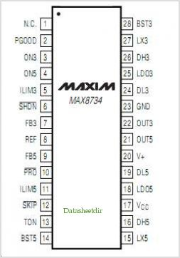 MAX8732 pinout,Pin out