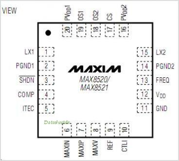MAX8520 pinout,Pin out