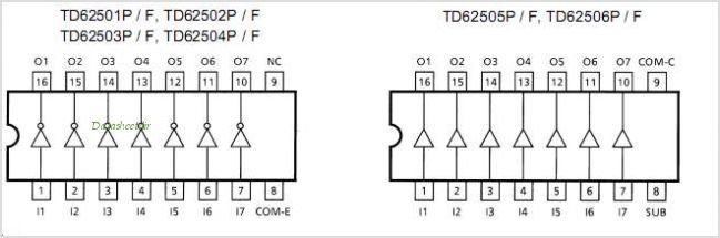 TD62501F pinout,Pin out