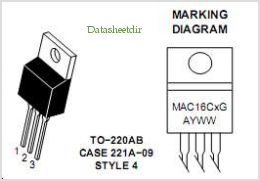 MAC16C pinout,Pin out