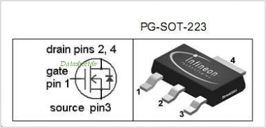 BSP129 pinout,Pin out