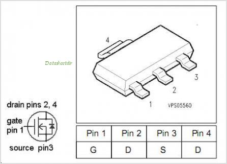 BSP373 pinout,Pin out