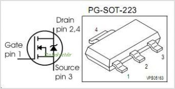 BSP88 pinout,Pin out