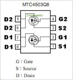 MTC4503Q8 datasheet, Pinout ,application circuits N- AND P-CHANNEL